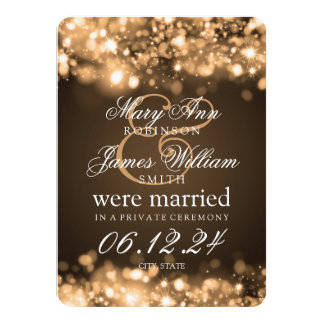 Marriage Elopement Sparkling Lights Gold Card