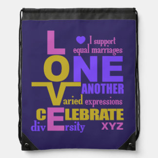Marriage Equality / One Love custom bag Drawstring Bag
