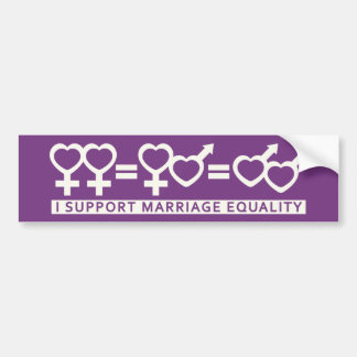 Marriage Equality / One Love custom bumpersticker Bumper Sticker