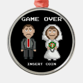 Marriage - Game Over Silver-Colored Round Decoration