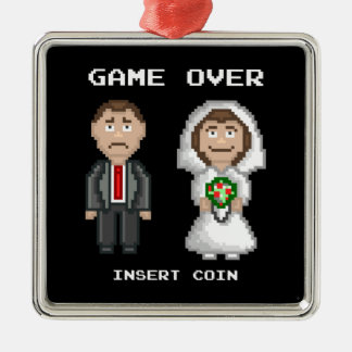 Marriage - Game Over Silver-Colored Square Decoration