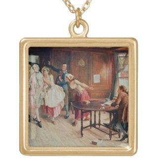Marriage in Fleet Street, 1898 (oil on canvas) Square Pendant Necklace