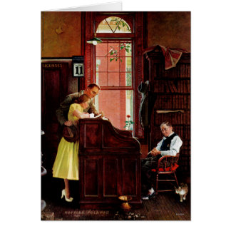 Marriage License by Norman Rockwell Card