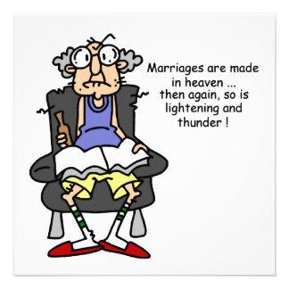Marriage, Lightning, Thunder Humor Custom Invites