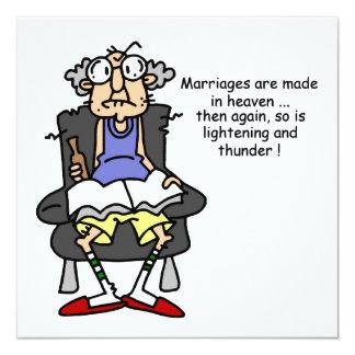 Marriage, Lightning, Thunder Humor 13 Cm X 13 Cm Square Invitation Card