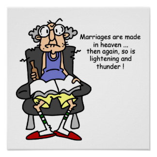 Marriage Lightning Thunder Humor Posters