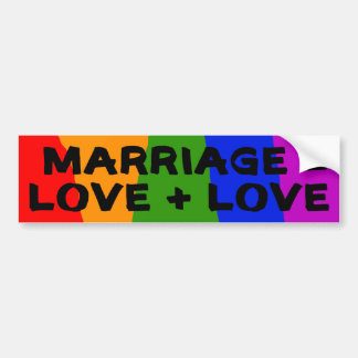 Marriage = Love + Love Sticker Bumper Sticker