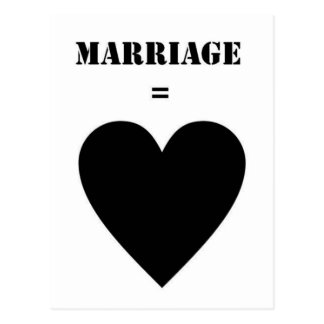 Marriage = Love Postcard
