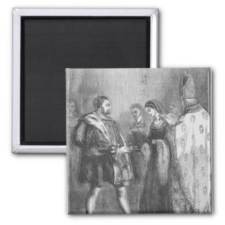 Marriage of Henry VIII and Catherine Parr Square Magnet