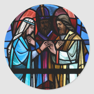Marriage of Mary and Saint Joseph Stained Glass Round Stickers