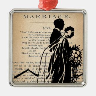 Marriage Poem by Longfellow Bride Groom Silhouette Christmas Tree Ornaments