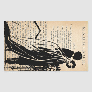 Marriage Poem by Longfellow Bride Groom Silhouette Rectangle Stickers
