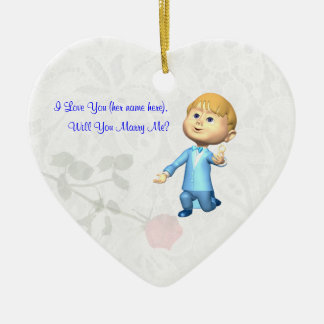 Marriage Proposal Ornament Adorable Young Man Ring