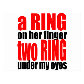 marriage reality ring finger eyes joke romance cou postcard