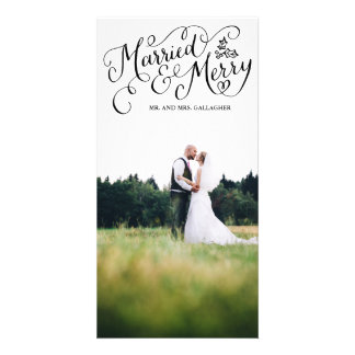 Married and Merry Black Hand Lettered Holiday Personalized Photo Card