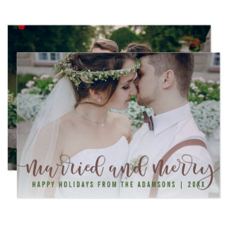 Married and Merry Calligraphy | Newlywed Photo Card