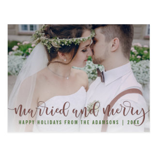Married and Merry Calligraphy | Newlywed Photo Postcard