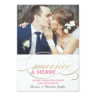 Married and Merry | Christmas 13 Cm X 18 Cm Invitation Card