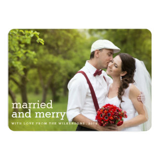 Married and Merry Christmas Two Photo Card Custom Invites