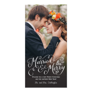 Married and Merry Hand Lettered Holiday Customized Photo Card