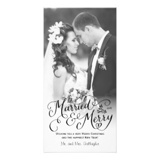 Married and Merry Hand Lettered White Holiday Personalized Photo Card