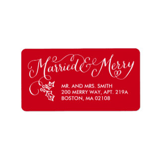 Married and Merry Holiday Address Labels