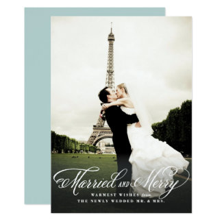 Married and Merry Holiday Photo Card 13 Cm X 18 Cm Invitation Card