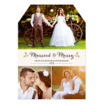Married and Merry Holly Christmas Photo Card Custom Invitations