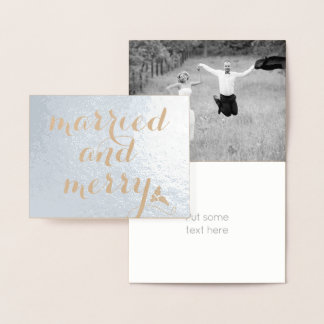 Married and Merry - kraft paper Christmas silver Foil Card