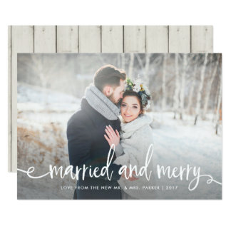 Married and Merry | Modern Rustic Christmas Photo Card