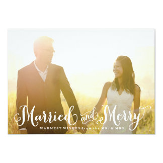 Married and Merry Newlywed Christmas Card 13 Cm X 18 Cm Invitation Card
