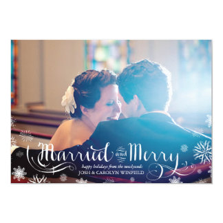 Married and Merry Newlywed Christmas Photo Card 13 Cm X 18 Cm Invitation Card