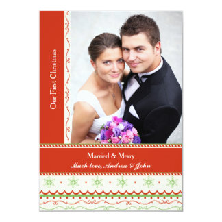 Married and Merry Photo Christmas Card 13 Cm X 18 Cm Invitation Card