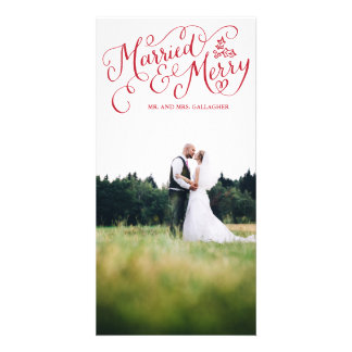 Married and Merry Red Hand Lettered Holiday Photo Card