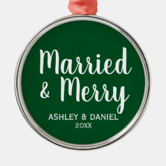 Married and Merry Wedding Christmas GW Christmas Ornament