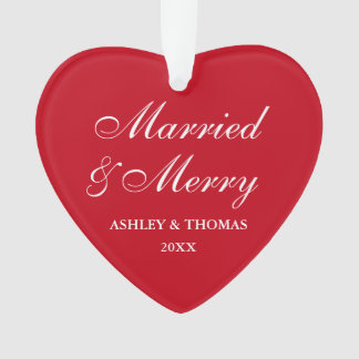 Married and Merry Wedding Christmas Red Heart Ornament