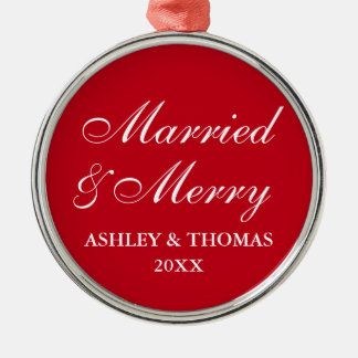 Married and Merry Wedding Christmas Red Round Christmas Ornament