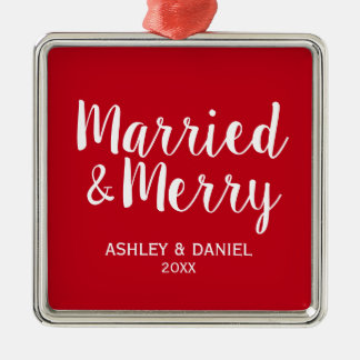 Married and Merry Wedding Christmas RW S Christmas Ornament