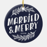 Married and Merry Wedding Photo Ornament