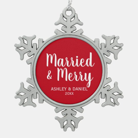 Married and Merry Wedding Red Snowflake Pewter Christmas