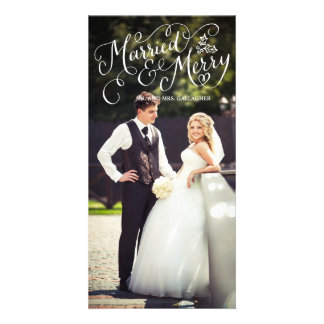 Married and Merry White Hand Lettered Holiday Photo Cards