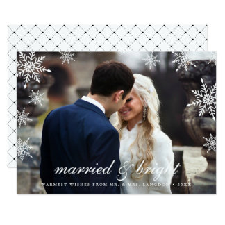 Married & Bright | Newlywed Holiday Photo Card 13 Cm X 18 Cm Invitation Card
