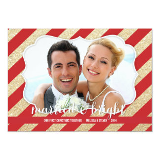 Married & Bright Red and Gold Photo Card Invitation