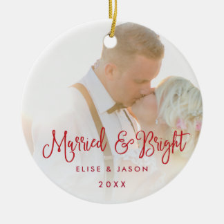 Married & Bright | Wedding Photo Christmas Ornament