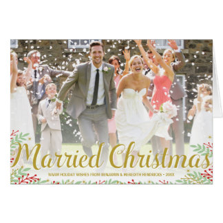 Married Christmas   Folded Newlyweds Holiday Photo Greeting Card