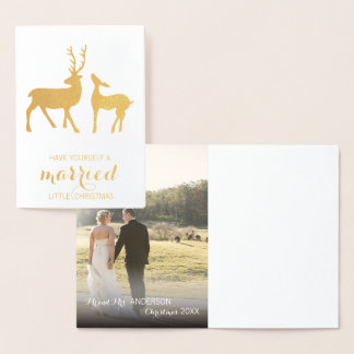 Married Christmas gold foil greetings card | Photo