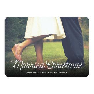 Married Christmas Newlywed Holiday Photo Elegant Card