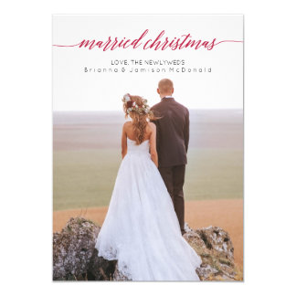Married Christmas Newlywed Photo Card