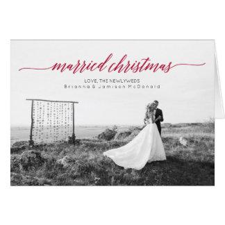 Married Christmas Newlywed Photo Folded Greeting Card