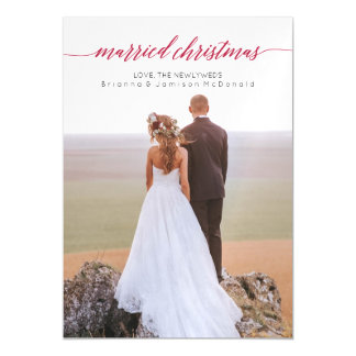 Married Christmas Newlywed Photo Magnet Magnetic Invitations